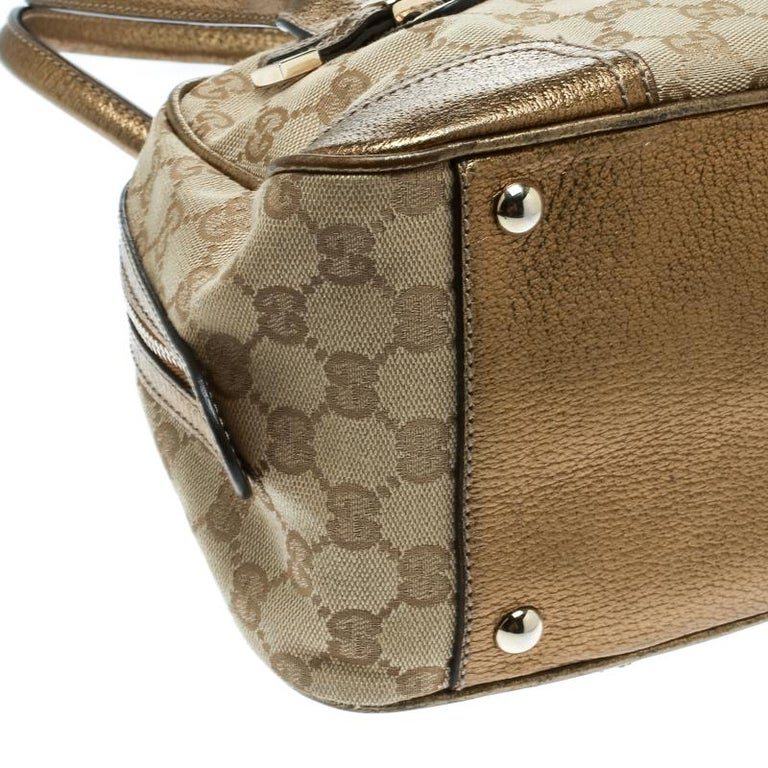 Gucci Beige/Gold GG Canvas and Leather Princy Boston Bag For Sale 8