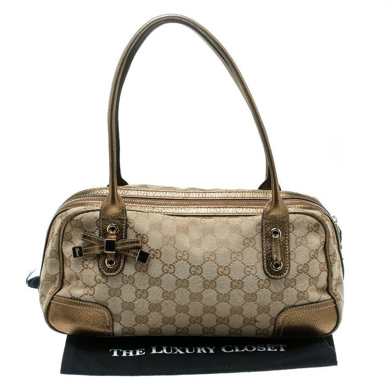 Gucci Beige/Gold GG Canvas and Leather Princy Boston Bag For Sale 9