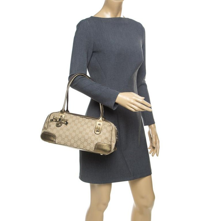 Brown Gucci Beige/Gold GG Canvas and Leather Princy Boston Bag For Sale