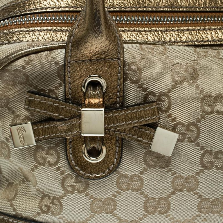 Gucci Beige/Gold GG Canvas and Leather Princy Boston Bag For Sale 4