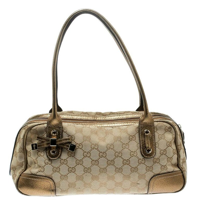 Gucci Beige/Gold GG Canvas and Leather Princy Boston Bag For Sale