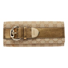 Gucci Beige/Gold GG Canvas and Leather Romy Clutch