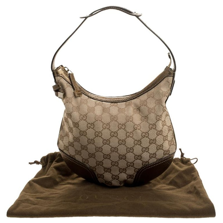 Gucci Beige/Gold GG Canvas and Leather Small Princy Hobo For Sale 8