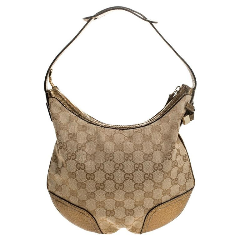 Gucci Beige/Gold GG Canvas and Leather Small Princy Hobo For Sale 2