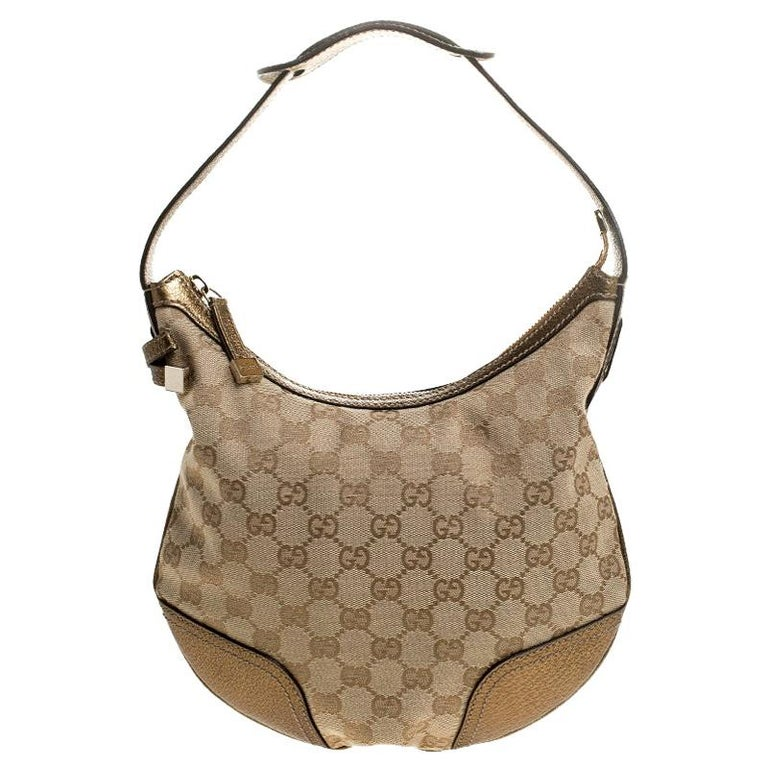 Gucci Beige/Gold GG Canvas and Leather Small Princy Hobo For Sale