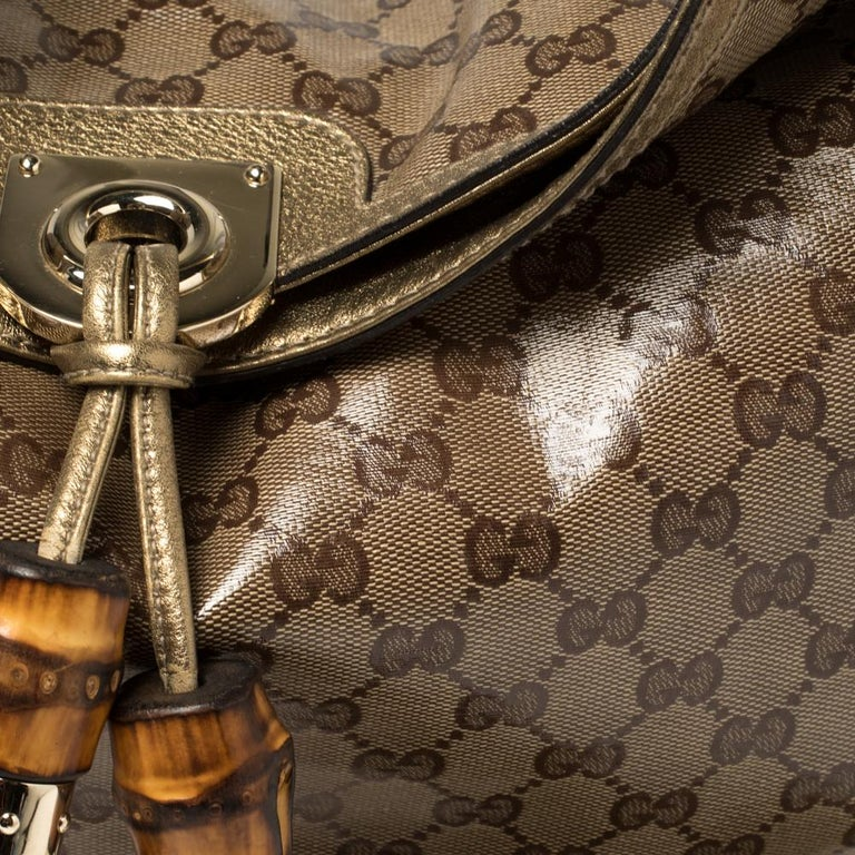 Gucci Beige/Gold GG Crystal Canvas and Leather Large Babouska Indy Hobo For Sale 5