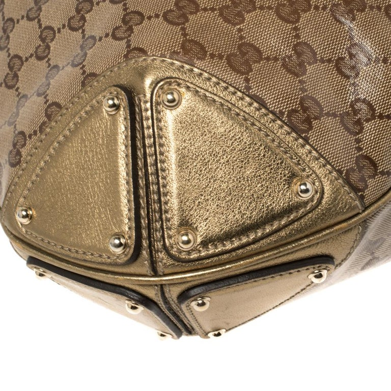Gucci Beige/Gold GG Crystal Canvas and Leather Large Babouska Indy Hobo For Sale 6