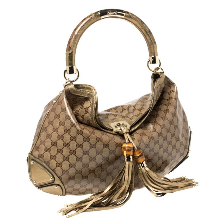 Brown Gucci Beige/Gold GG Crystal Canvas and Leather Large Babouska Indy Hobo For Sale