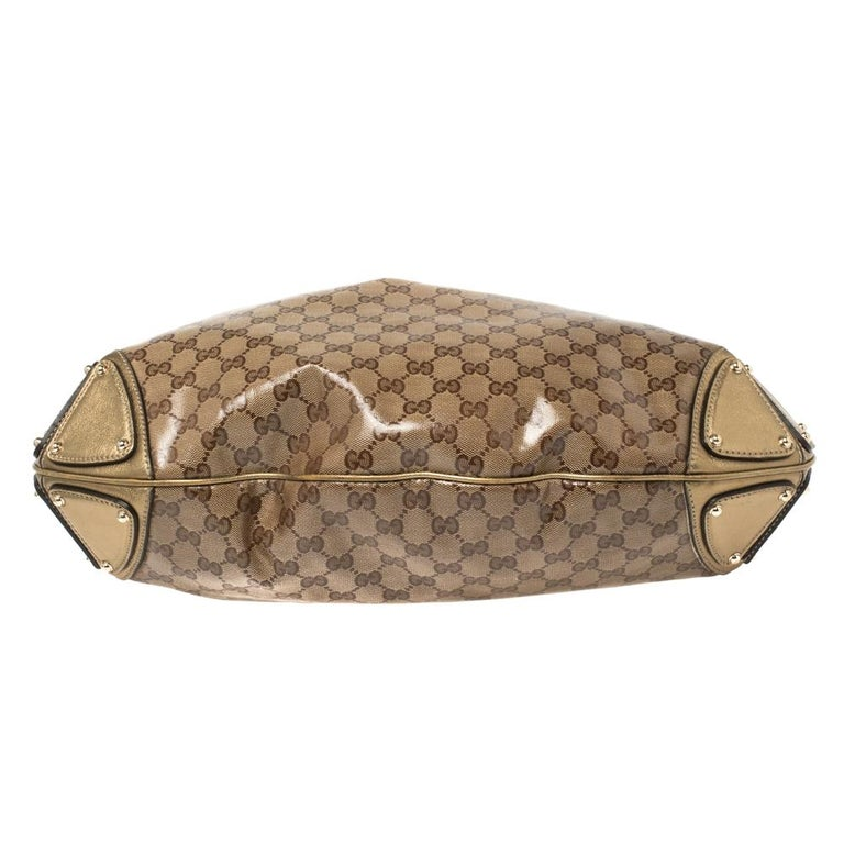 Women's Gucci Beige/Gold GG Crystal Canvas and Leather Large Babouska Indy Hobo For Sale