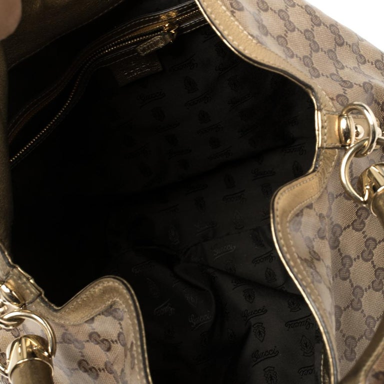 Gucci Beige/Gold GG Crystal Canvas and Leather Large Babouska Indy Hobo For Sale 1