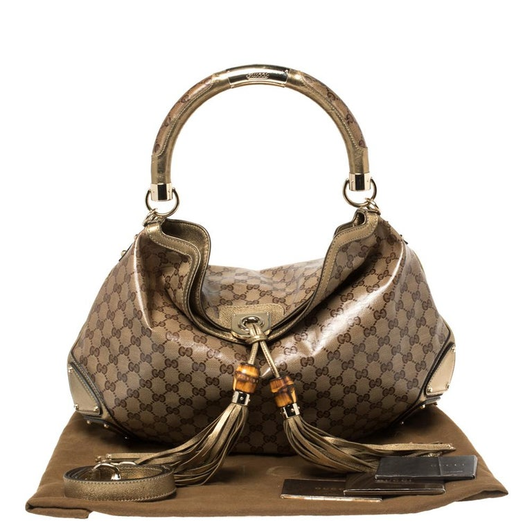 Gucci Beige/Gold GG Crystal Canvas and Leather Large Babouska Indy Hobo For Sale 2