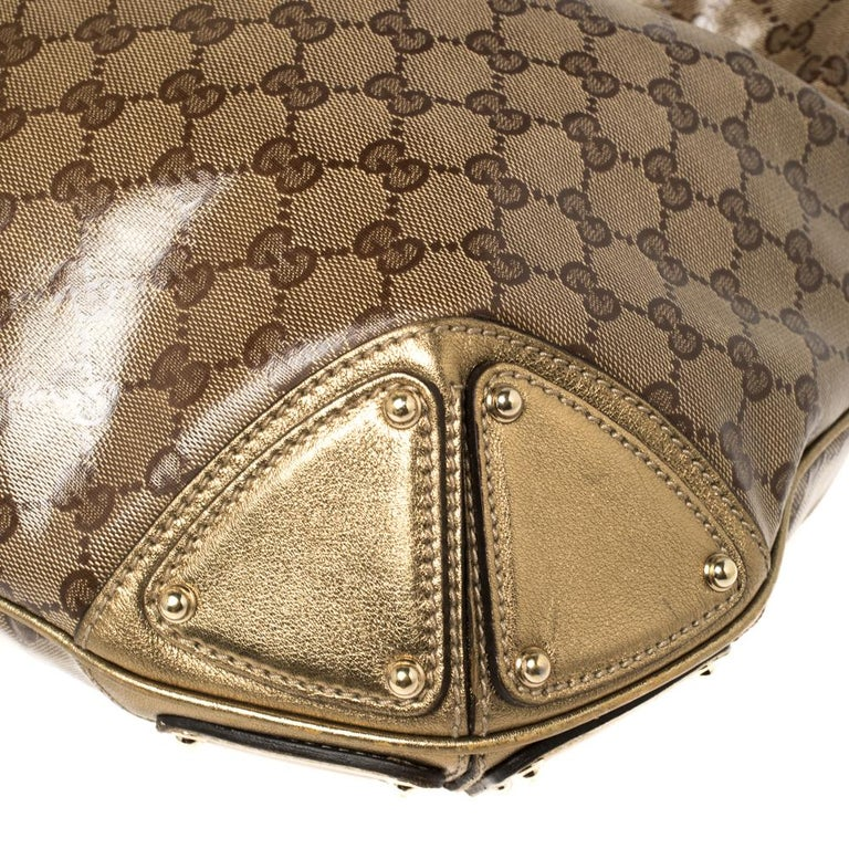 Gucci Beige/Gold GG Crystal Canvas and Leather Large Babouska Indy Hobo For Sale 3