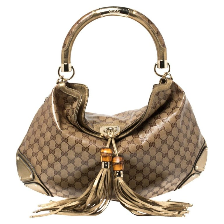 Gucci Beige/Gold GG Crystal Canvas and Leather Large Babouska Indy Hobo For Sale