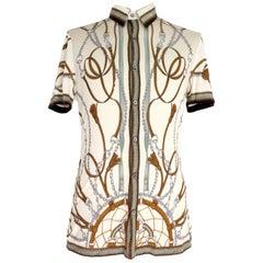 Gucci Beige Gray Silk Cotton Equestrian Shirt 2000s