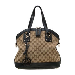 Gucci Beige/Green GG Canvas and Leather Charm Dome Satchel
