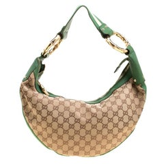 Gucci Beige/Green GG Canvas Medium Web Bamboo Ring Hobo