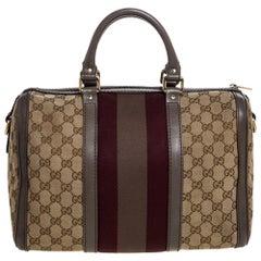 Gucci Beige/Grey GG Canvas and Leather Medium Vintage Web Boston Bag