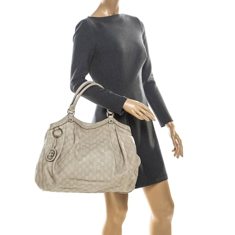 Gucci Beige Guccisima Leather Large Sukey Tote In Good Condition In Dubai, Al Qouz 2
