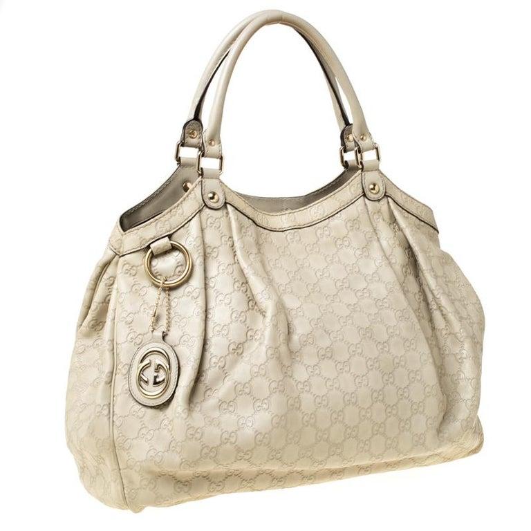 Women's Gucci Beige Guccisima Leather Large Sukey Tote