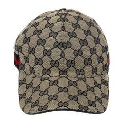 Gucci Beige Guccissima Canvas Web Detail Baseball Cap S