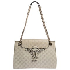 Gucci Beige Guccissima Leather Large Emily Chain Shoulder Bag
