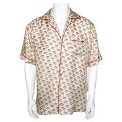Gucci Beige Invite Stamp Print Silk Satin Bowling Shirt XL