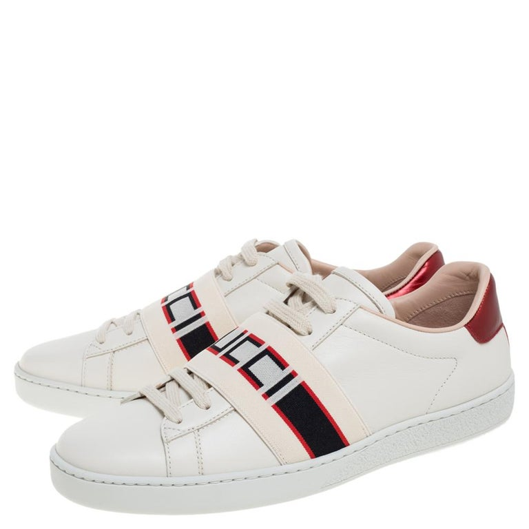 Women's Gucci Beige Leather Ace Gucci Stripe Low Top Sneakers Size 37.5 For Sale