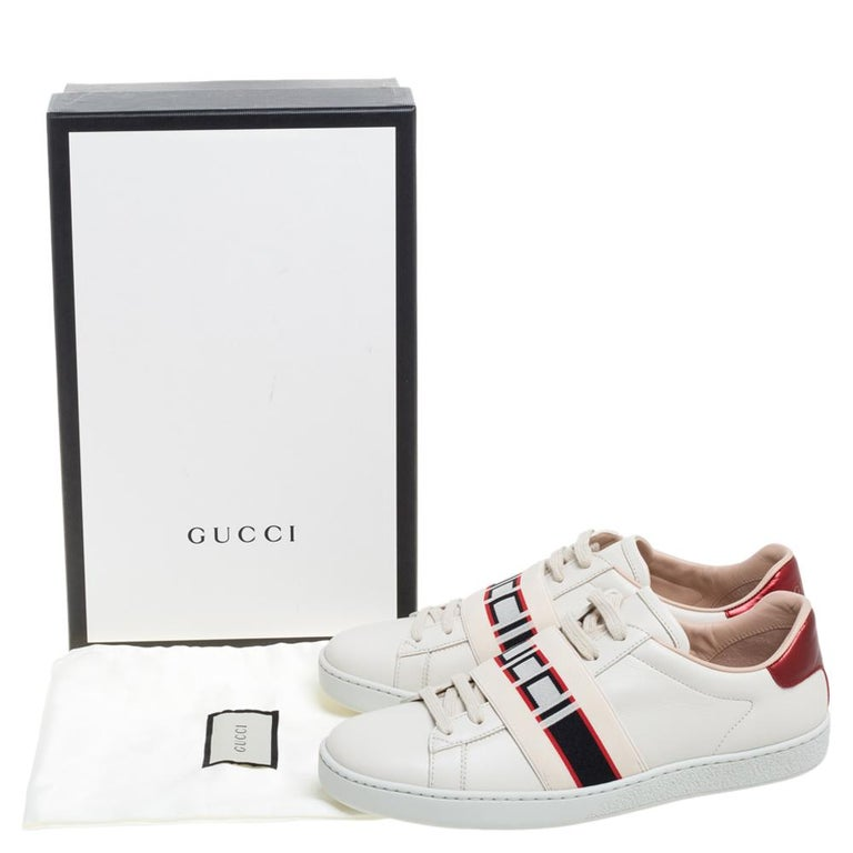 Gucci Beige Leather Ace Gucci Stripe Low Top Sneakers Size 37.5 For Sale 5