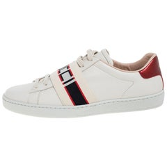 Gucci Beige Leather Ace Gucci Stripe Low Top Sneakers Size 37.5