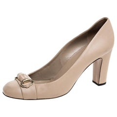 Gucci Beige Leather Bamboo Horsebit Pumps Size 39.5