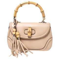 Gucci Beige Leather Bamboo Top Handle Bag