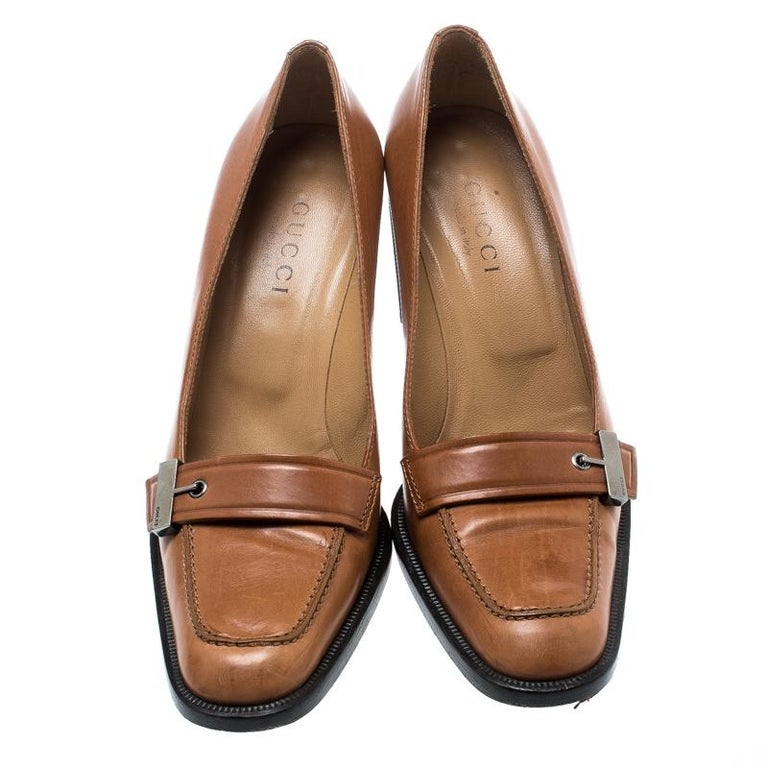 Gucci Beige Leather Buckle Detail Loafer Pumps Size 38 For Sale At 1stdibs