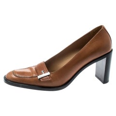 Gucci Beige Leather Buckle Detail Loafer Pumps Size 38