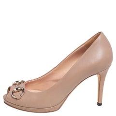 Gucci Beige Leather Horsebit Peep Toe Pumps Size 36