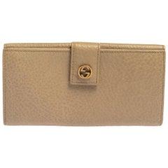 Gucci Beige Leather Interlocking G Continental Wallet