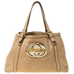 Gucci Beige Leather Medium GG Britt Tote