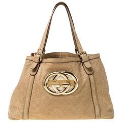Gucci Beige Leather Medium GG Britt Tote