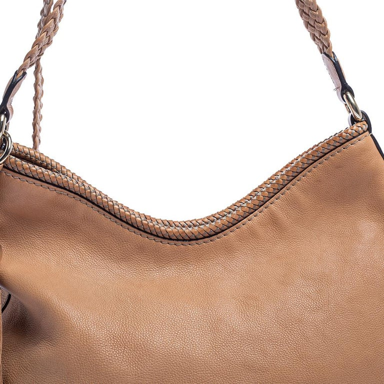 Gucci Beige Leather Medium Marrakech Hobo For Sale 2