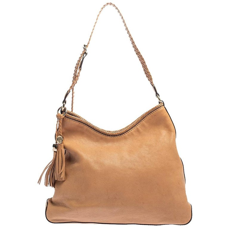 Gucci Beige Leather Medium Marrakech Hobo For Sale