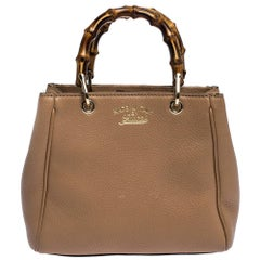 Gucci Beige Leather Mini Bamboo Top Handle Bag