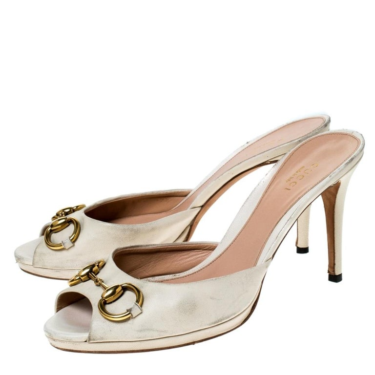 Women's Gucci Beige Leather New Hollywood Horsebit Slide Sandals Size 39.5 For Sale