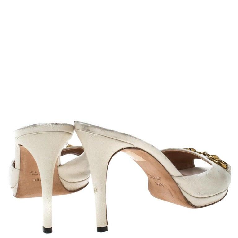 Gucci Beige Leather New Hollywood Horsebit Slide Sandals Size 39.5 For Sale 1