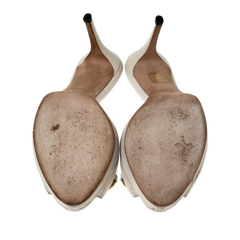 Gucci Beige Leather New Hollywood Horsebit Slide Sandals Size 39.5 For Sale 2