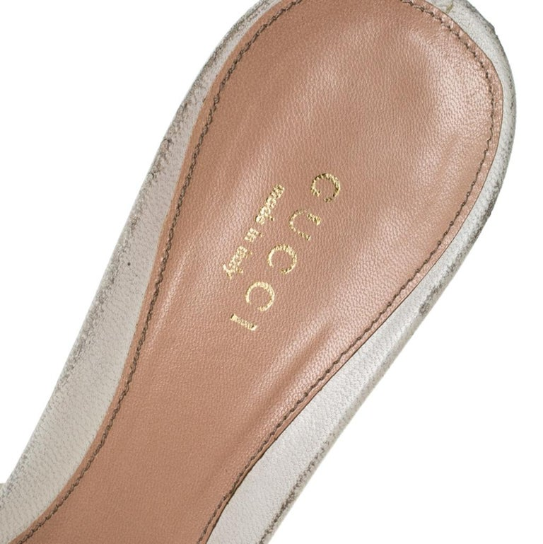 Gucci Beige Leather New Hollywood Horsebit Slide Sandals Size 39.5 For Sale 3