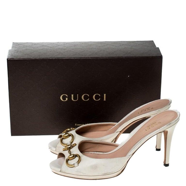 Gucci Beige Leather New Hollywood Horsebit Slide Sandals Size 39.5 For Sale 4