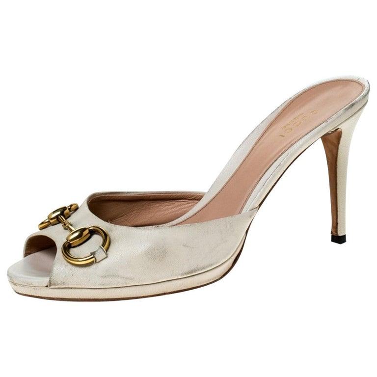 Gucci Beige Leather New Hollywood Horsebit Slide Sandals Size 39.5 For Sale