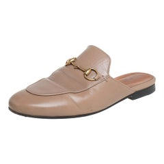 Gucci Beige Leather Princetown Mules Size 35