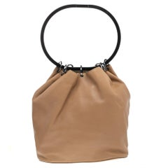 Gucci Beige Leather Ring Top Handle Bag