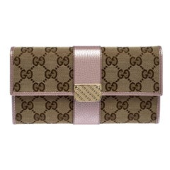 Gucci Beige/Light Pink GG Canvas and Leather Flap Continental Wallet