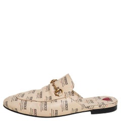 Gucci Beige Logo Stamp Leather Princetown Horsebit Mules Size 40
